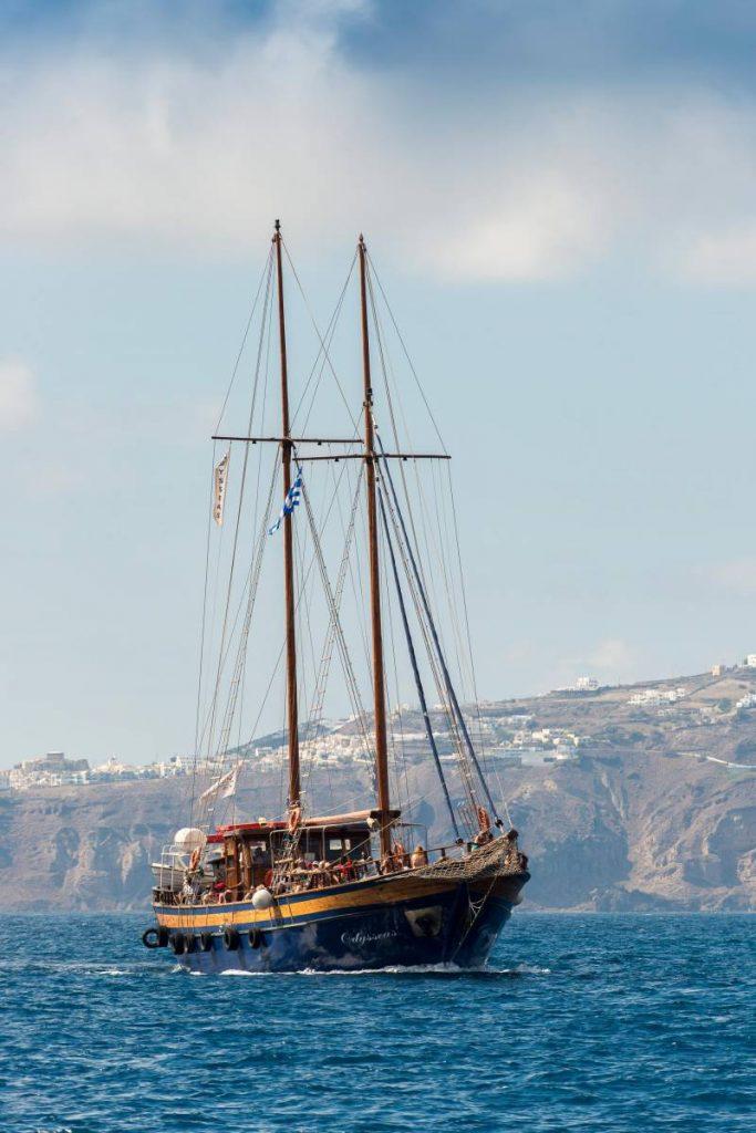 Tour of caldera on sailing boat
